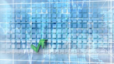 indicating : Digital composite of green arrow moving towards screen while bar chart formed on the background. Grid with graphs moving on the foreground Stock Footage
