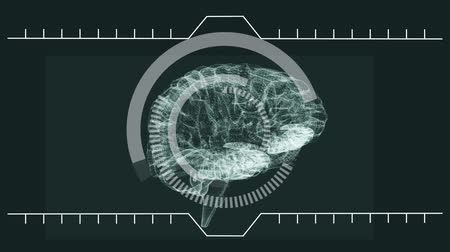 temporal : Digital animation of brain turning itself with digital animation analysing information Stock Footage