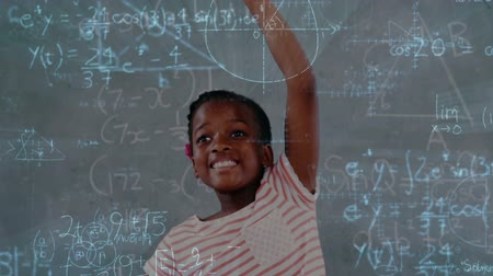 meedoen : Digital animation of African-american schoolchild raising hand with mathematical information animation on the foreground 4k Stockvideo