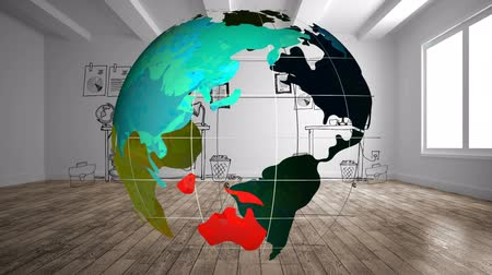 antarktyda : Digital animation of globe turning in office with cartoon interior.   Each continent have a color 4k Wideo