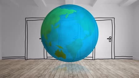 antarktyda : Digital animation of globe turning with cartoon door on background in empty room 4k