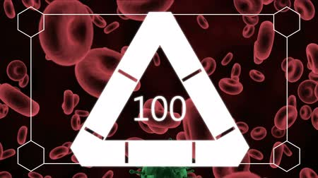 organizma : Digital composite of white border with hexagon shapes in the corners showing triangle loading in the middle against red blood cells being infected by virus background 4k