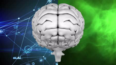 mindset : Digital composite of human brain against background that is divided into two halves. The left half shows binary codes and connected lines against dark blue background while the right half shows green fumes. Stock Footage