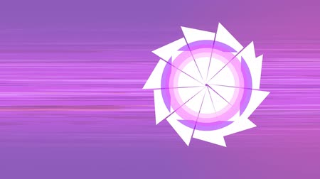 pic : Digitally generated camera lens shutter icon opening and closing against moving pink and purple background Stock Footage