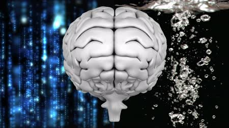 nape : Digital composite of close up of brain with data background on left and drops on water on right