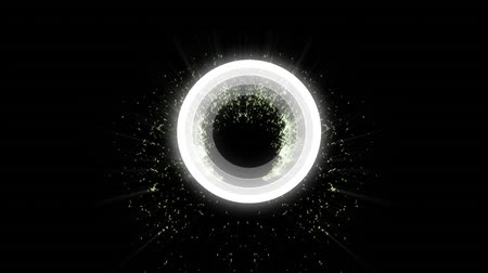 Digital animation of a white circle pulsing on a dark background with gold flakes flying and rotating