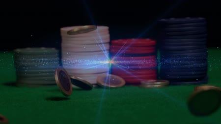 cash free : Digital composite of piles of poker chips on green poker table with animation of money in free falling and blue light effect