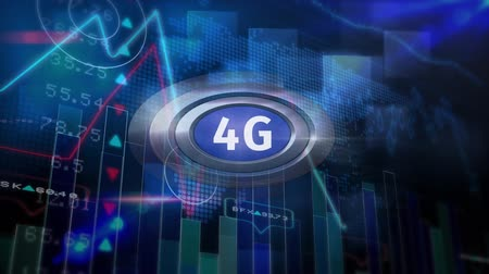 conectado : Digital animation of 5g logo on a button against graphics, stock price, data in dark background
