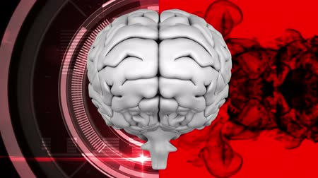 know : Digital animation of grey brain with two different backgrounds, the left one is composed of a radiance with binary codes and the right one of black ink animated on a red background.