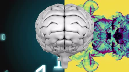 cerebral hemisphere : Digitally animated of a grey digital brain with a dark background full of binary code on the left side and with painting on yellow background on the right side