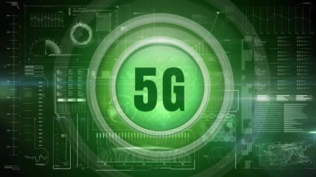 affiliate : Digital animation of green 5g logo on a button against green technological dashboard Stock Footage