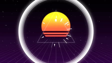 点滅する : Digital animated of white triangle pulsing with white circle with animation of sunset on purple background