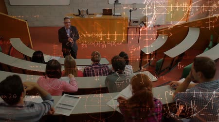 mezun : Digital composite of teacher and students in a auditorium surrounded by animation of mathematics symbols