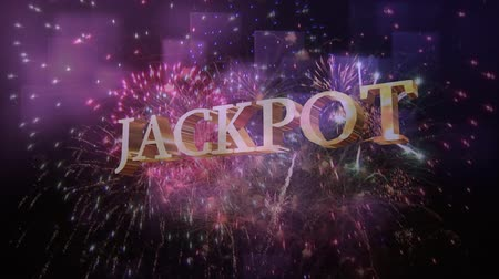 žolík : Digital composite of yellow jackpot sign against beautiful fireworks display