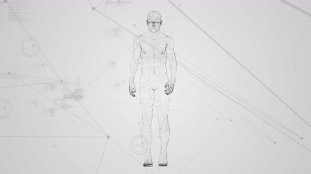 vector : Digital composite of human prototype walking against data connections on a white background Stock Footage