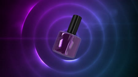 disolvente : Digital composite of purple spining nail polish with purple circles blinking Archivo de Video