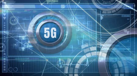 tárcsázás : Digitally animated of 5g logo on a button with a technological background composed by digital screen, diagram, forms and data