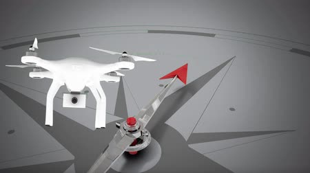 quad hd : Digital animation of turning compass and drone on grey background