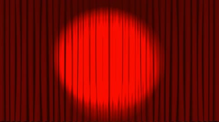 diken : Digital animation of theater curtains opening and spotlight with red rose and candle in the backside