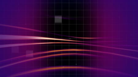манга : Digital animation of purple light effect and yellow lines with dark grid pattern in the background