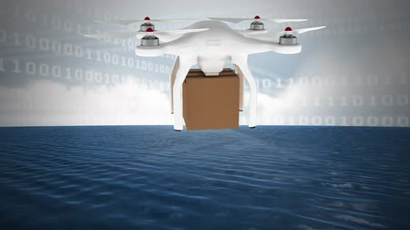 quad hd : Digital animation of delivery drone and binary codes against cloudy sky and ocean in the background Stock Footage