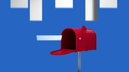 factor : Digital animation of red letterbox open against white arrows pointing up on blue background Stock Footage