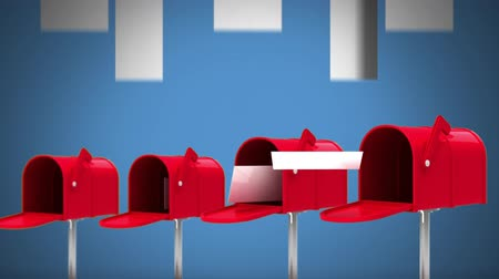 factor : Digital animation of red letterboxes open against white arrows pointing up on blue background