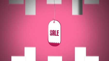 azaltmak : Digital animation of turning sale stickers against white arrows on a pink background Stok Video