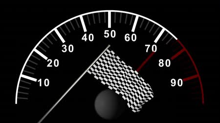 dull : Digital animation of car counter against checkered flag on black backgrond