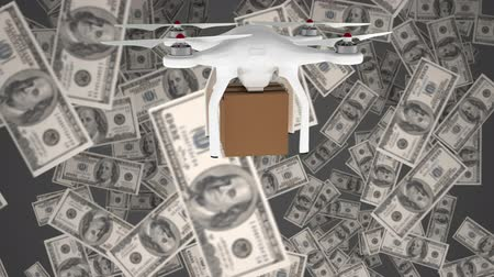 cash free : Digital animation of white delivery drone surrounded by money in free-fall against grey background