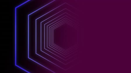 ser : Digital animation of purple hexagon shape against black and purple background