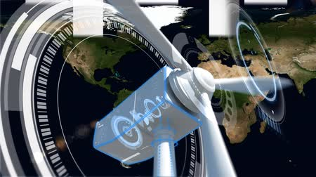 указывать : Digital composite of arrows going up wind turbine with proppelers turning while there is map on background