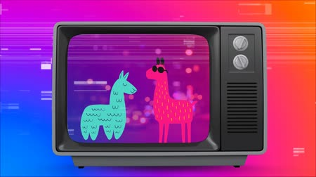 fluorescent : Digital animation of old TV with blue and pink llamas on the screen against colorful scrambled effect in the background