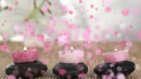 tiara : Digital composite of pink candles on pebbles surrounded by pink bubbles animation Stock Footage
