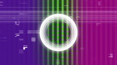 diagrama circular : Digital animation of blinking white circle against colorful scrambled effect on pink,green and purple background