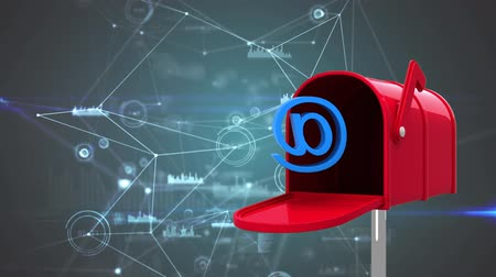 адрес : Digitally generated animation of red letterbox with blue AT sign symbol against data connections in the background