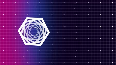 hexagon pattern : Digital composite of white hexagon turning around itself against purple and pink grid pattern