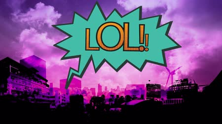 noktalama : Digital animation of the word LOL in blue exclamation bubble against cityscape in pink background