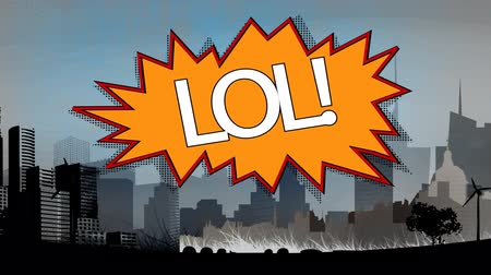 noktalama : Digital composite of the word LOL appears in retro and comic speech bubble with drawing cityscape on background