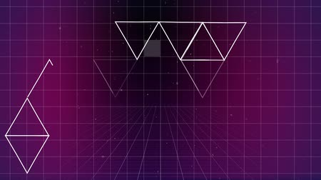 kare : Digital composite of lots of triangle forming others forms on purple grid background with virtual square falling