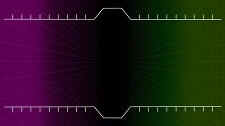 fama : Digital composite of graduated lines appearing on center of the video and going up on dark background Stock Footage