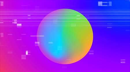 digitálně generované obrazy : Front view of a multi coloured ball against shade from pink to purple in background
