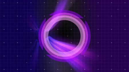 ponto alto : Digital composite of circle with square above forming angle with shadow. There digital corridor moving in superposition. Background is purple with grid and light  point