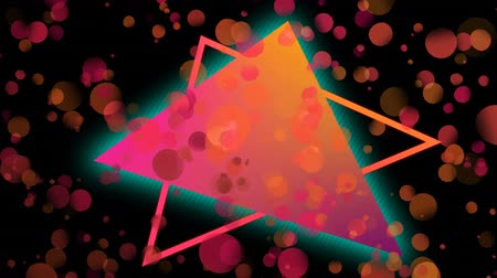 üçgen : Digital composite of colorful triangle against orange and pink bubbles effect in dark universe background