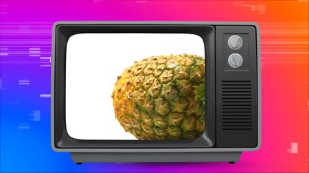 размеры : Digital composite of retro TV showing pineapple on screen. There is vintage background with virtual square sizzling