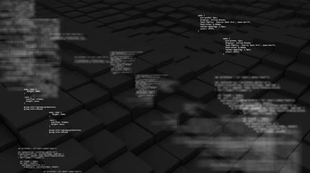 kocka : Digital composite of floor of 3D cube waving with texts appearing on little letter