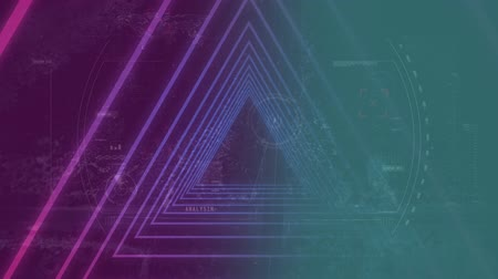 tecnológica : Digital composite of purple triangles against technological dashoard board on pink and blue background