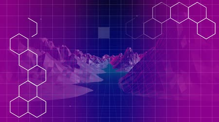 hexágono : Digitally animated of white hexagon shape against grid pattern surrouded by moutains