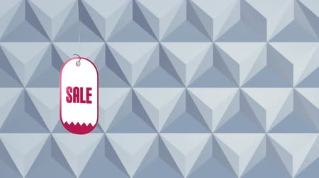etiqueta : Digital animation of sale tag in pink font drops over gray cubes pattern