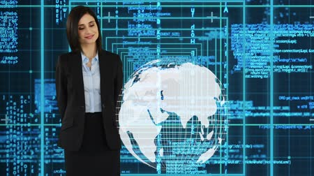 выигрыш : Digital composite of an young Caucasian female executive in business clothes touching the digital globe with digital information in the background